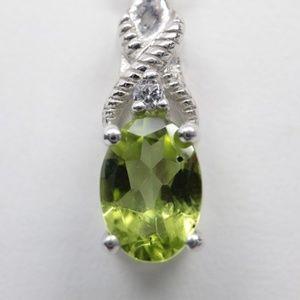 Jewelry - Sterling 925 Peridot & CZ Necklace